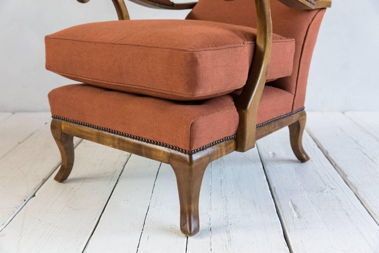 Pair of Vintage Italian Wing Chairs Upholstered in Rust Ripstop Howe Fabric 4