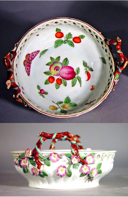 Antique Chelsea porcelain reticulated circular basket, 