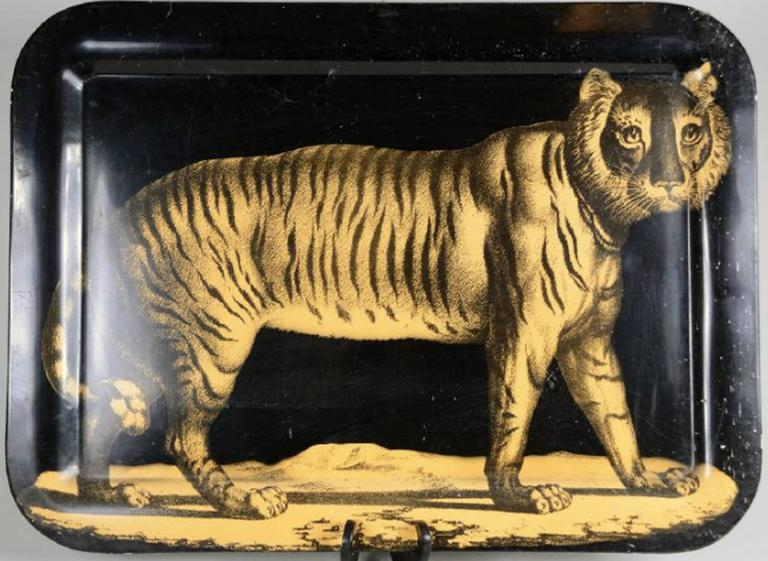 Piero Fornasetti Early Metal Tiger Tray, Early 1950s 3