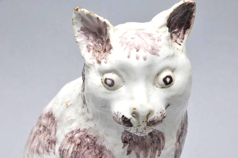 18th Century Brussels Faience Model of a Cat,  Philippe Mombaers, circa 1765-1785 For Sale