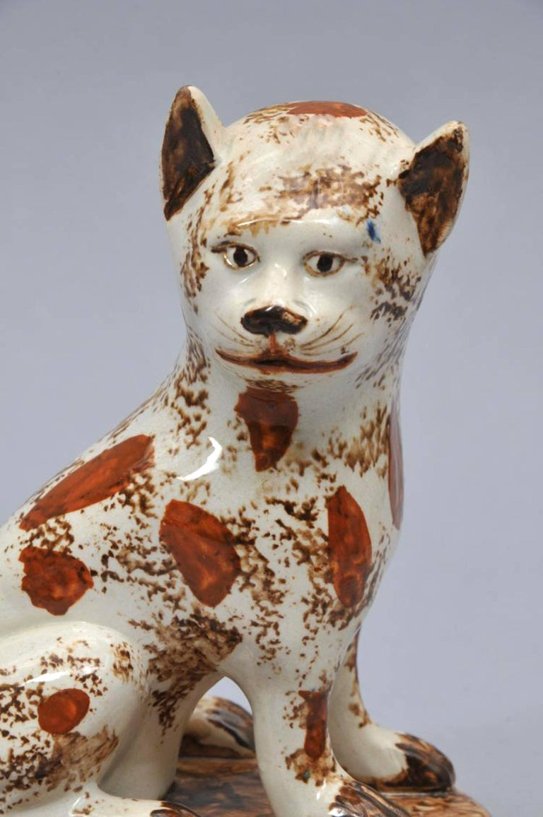 English Early Staffordshire Pottery Whimsical Cat, Early 19th Century For Sale