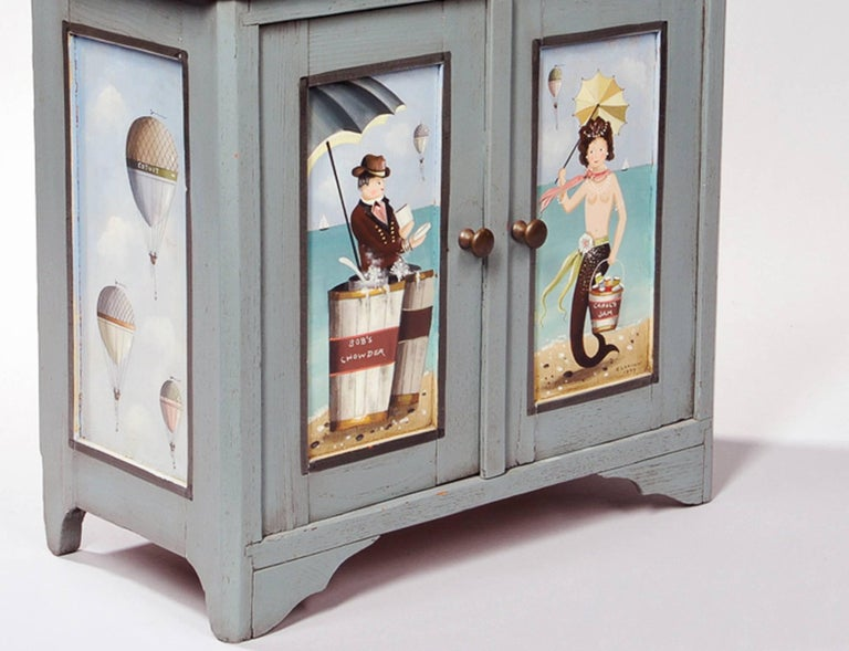 American Ralph Cahoon Small Paint-Decorated Cabinet, Signed and Dated 1979 For Sale