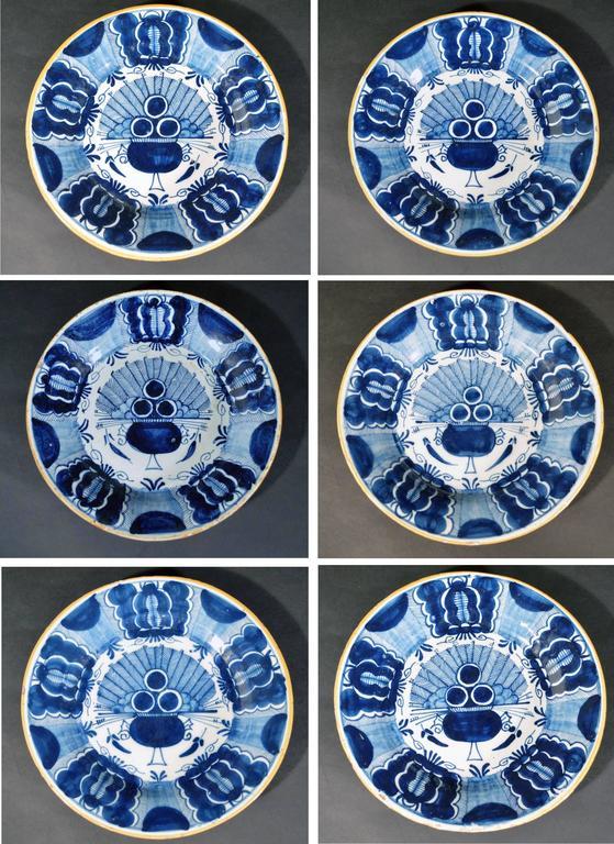 Georgian Dutch Delft Underglaze Blue Chinoiserie Peacock or Fan Pattern Set of Six Plates For Sale  sc 1 st  1stDibs & Dutch Delft Underglaze Blue Chinoiserie Peacock or Fan Pattern Set ...
