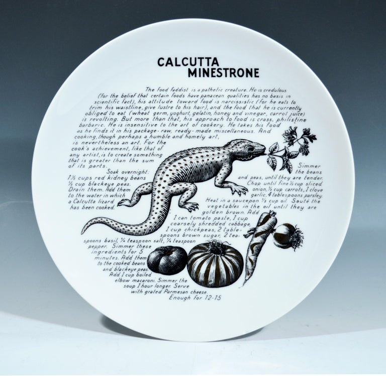 Piero Fornasetti Porcelain Recipe Plates, 1960s In Excellent Condition For Sale In Maryknoll, NY