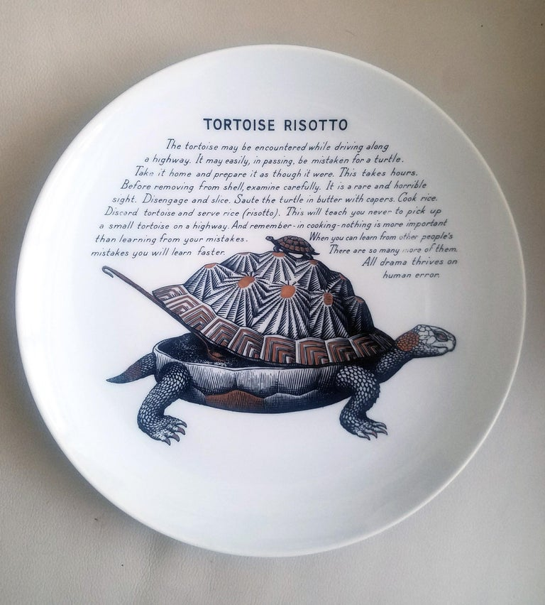 Piero Fornasetti Porcelain Recipe Plates, 1960s For Sale 2
