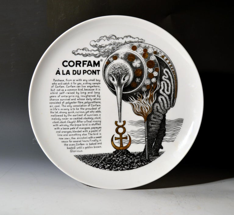 Piero Fornasetti Porcelain Recipe Plates, 1960s For Sale 3