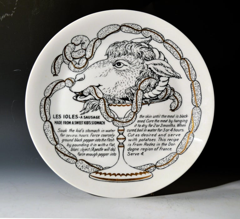 Piero Fornasetti Porcelain Recipe Plates, 1960s For Sale 5