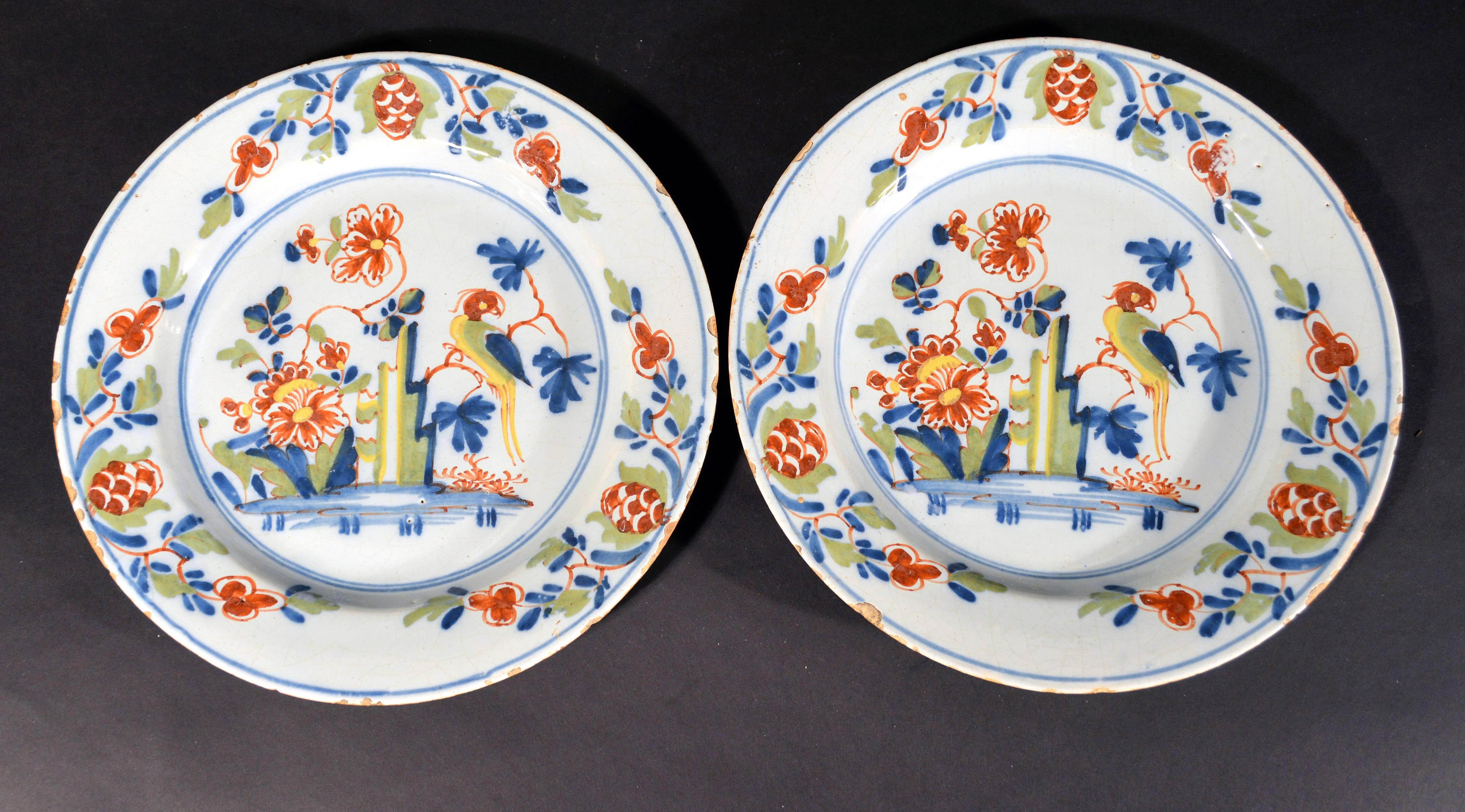 Lambeth High Street Delftware Chinoiserie Plates With Parrot 18th-century. For Sale at 1stdibs & Lambeth High Street Delftware Chinoiserie Plates With Parrot 18th ...