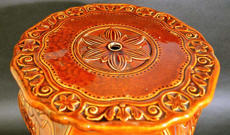 Arts and Crafts Minton Arts and Craft Majolica Garden Seat Design by Augustus Welby Pugin.  For Sale