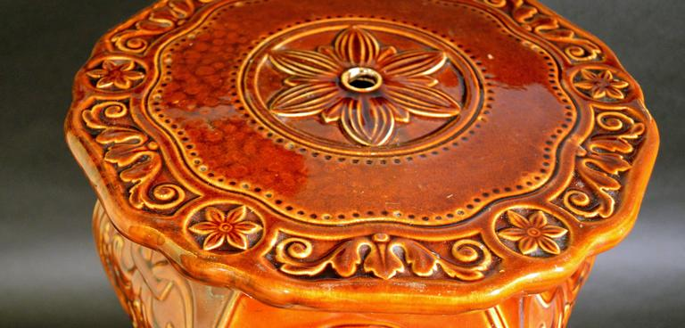 British Minton Arts and Craft Majolica Garden Seat Design by Augustus Welby Pugin.  For Sale
