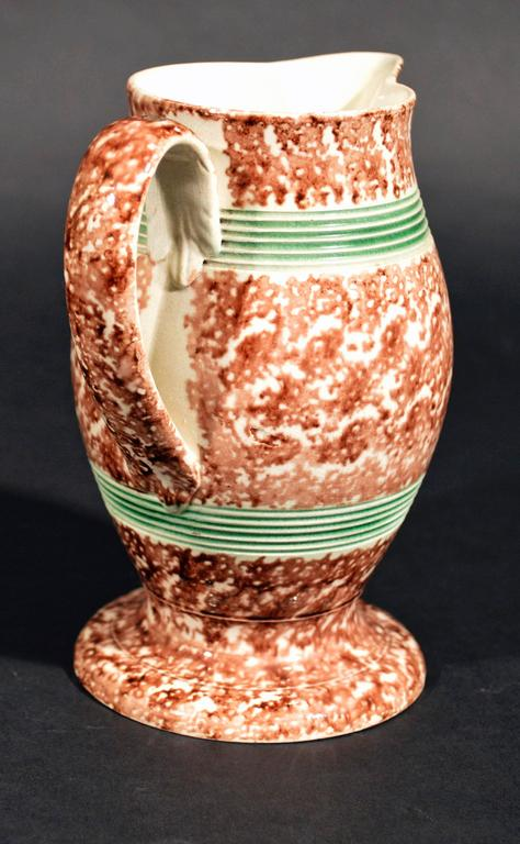 Creamware Whieldon-Type Tortoiseshell Jug with Green Banding In Good Condition For Sale In Downingtown, PA