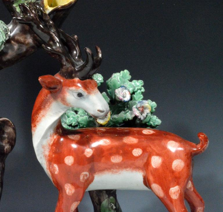 Regency Staffordshire Pearlware Large & Rare Double Deer Figure Spill Vase Group For Sale