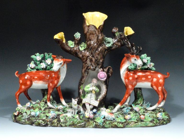 Early 19th Century Staffordshire Pearlware Large & Rare Double Deer Figure Spill Vase Group For Sale