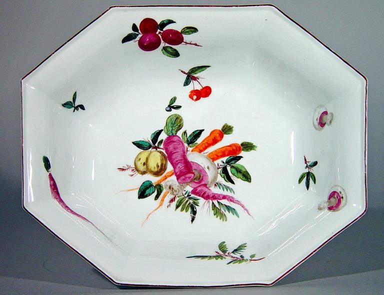 Georgian Chelsea Porcelain Dishes with Unusual Vegetable Decoration after Meissen For Sale