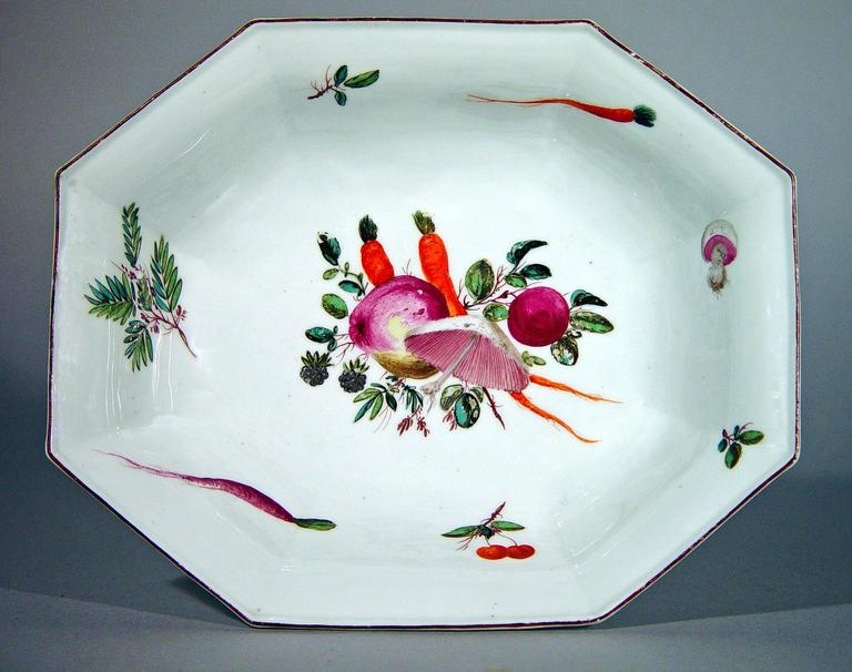 English Chelsea Porcelain Dishes with Unusual Vegetable Decoration after Meissen For Sale