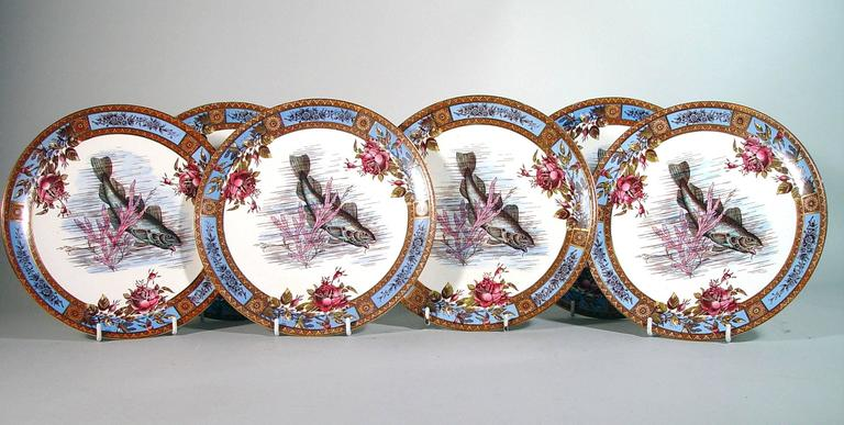 Victorian Six Garfield Pottery Earthenware Plates with Fish, Wood & Hulme For Sale