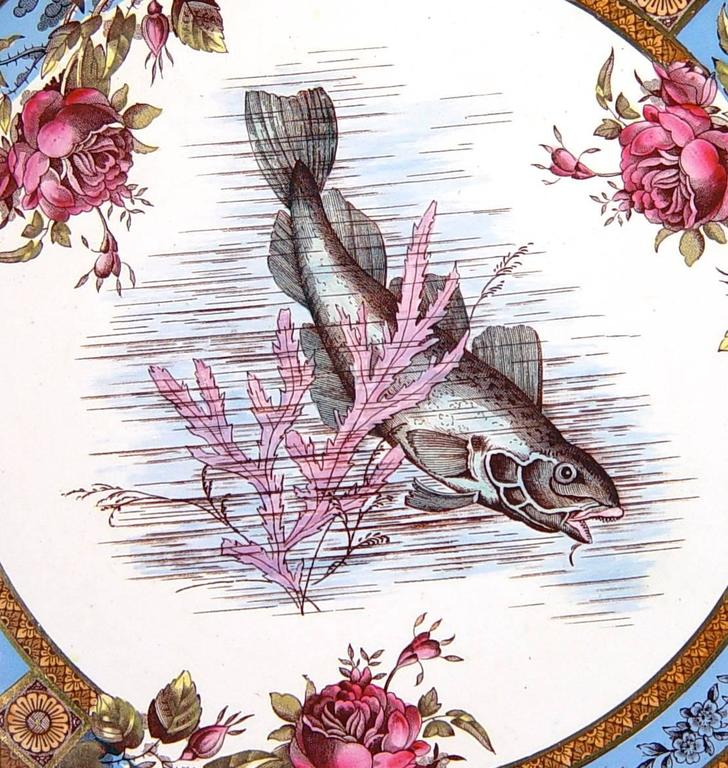 English Six Garfield Pottery Earthenware Plates with Fish, Wood & Hulme For Sale
