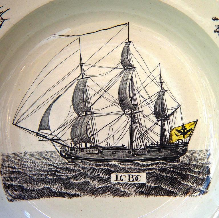 Georgian Wedgwood Creamware Soup Plate with German Ship Decoration. For Sale