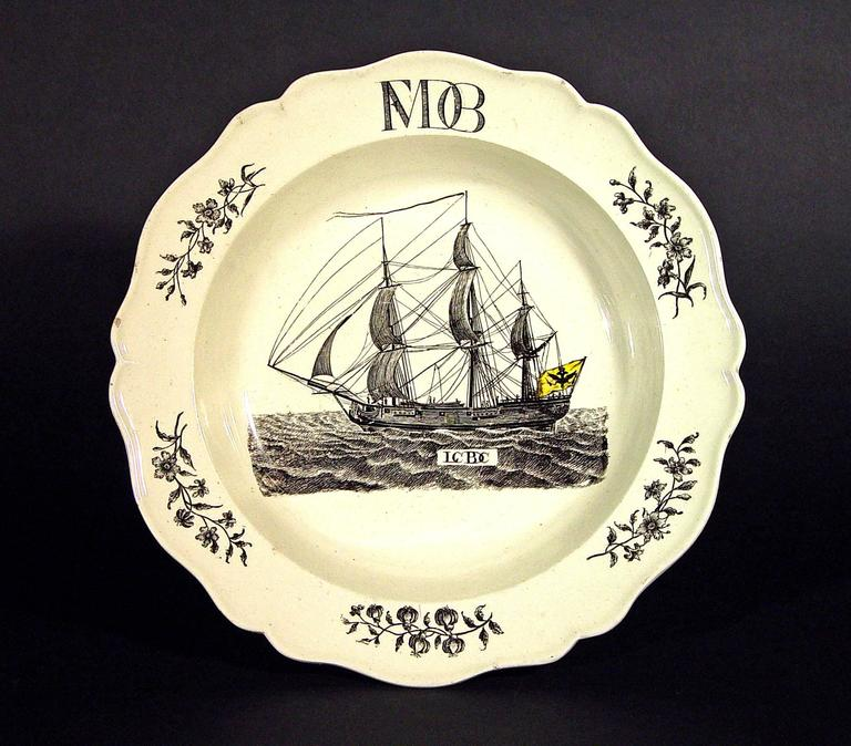 The ship flying the flag of the last German Emperor of the Holy Roman Empire, Francis II , circa 1775-1790.  The rare Wedgwood creamware plate depicts a naval vessel flying the flag of the last German Emperor of the Holy Roman Empire, Francis II