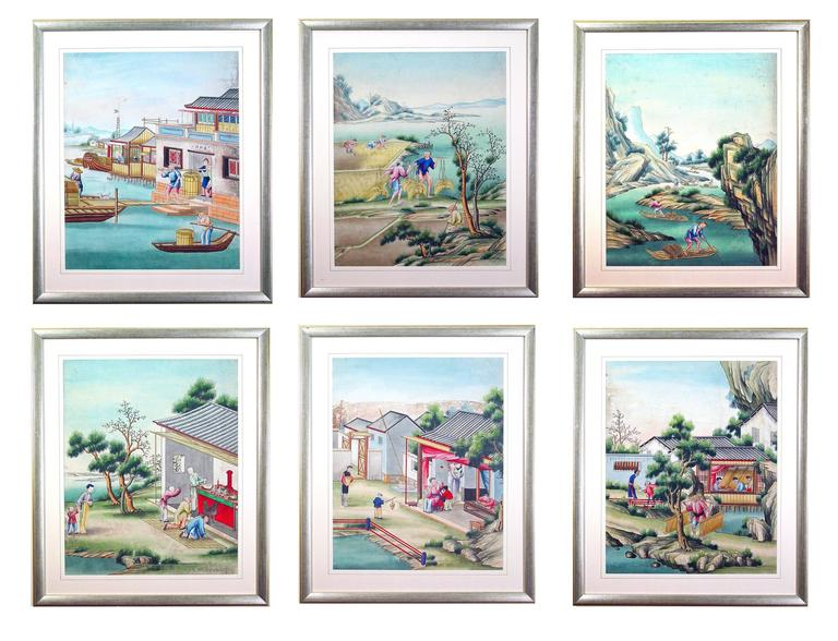 The particularly large Chinese watercolor and gouache paintings on paper depict various scenes of everyday Chinese life. All are framed and glazed.