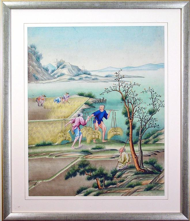 Painted Chinese Watercolor and Gouache Paintings of Chinese Life, a Set of Six For Sale