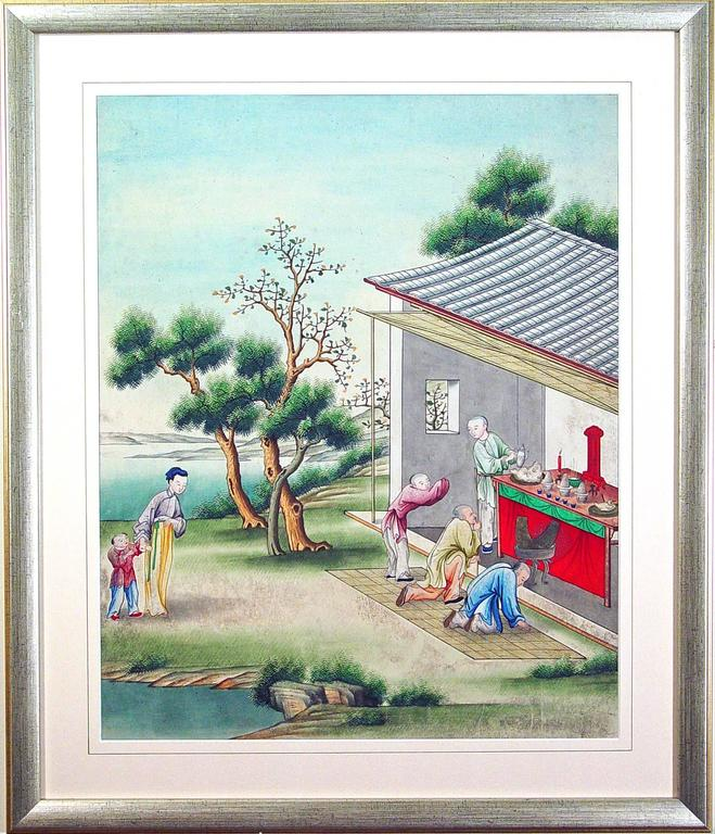 Chinese Watercolor and Gouache Paintings of Chinese Life, a Set of Six In Good Condition For Sale In Downingtown, PA