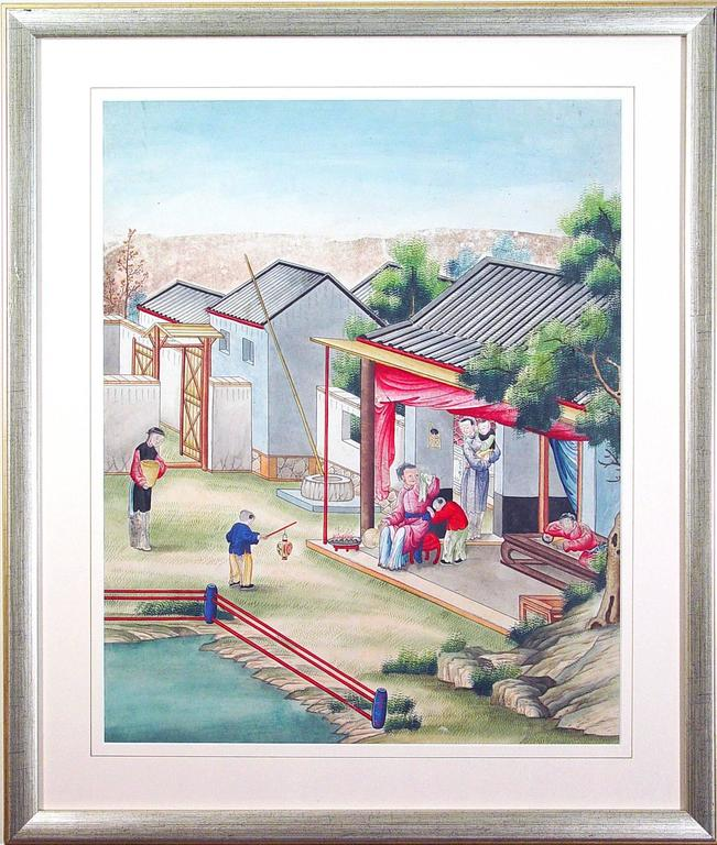 19th Century Chinese Watercolor and Gouache Paintings of Chinese Life, a Set of Six For Sale