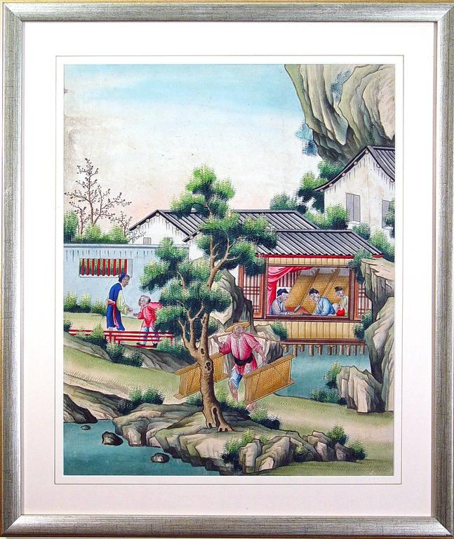 Paper Chinese Watercolor and Gouache Paintings of Chinese Life, a Set of Six For Sale