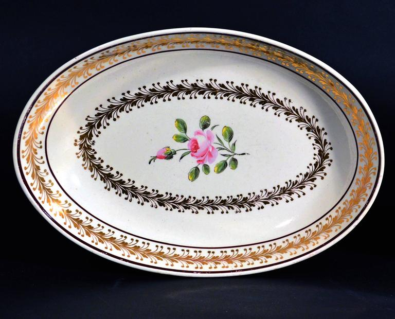 Georgian Creamware Oval Botanical Dishes, Neale & Co. 18th-Century For Sale