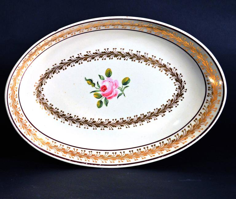 English Creamware Oval Botanical Dishes, Neale & Co. 18th-Century For Sale