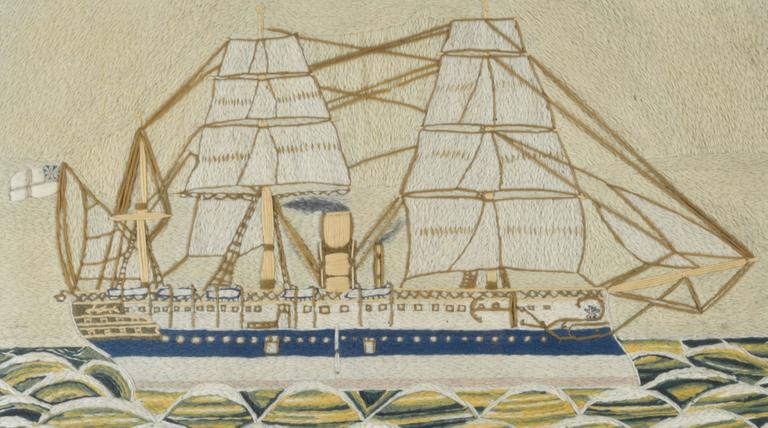 Victorian English Sailor's Woolwork Woolie Picture of HMS Euphrates For Sale
