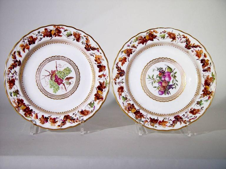 Georgian Derby Porcelain Plates, Pattern 126, Painted by William Longden For Sale