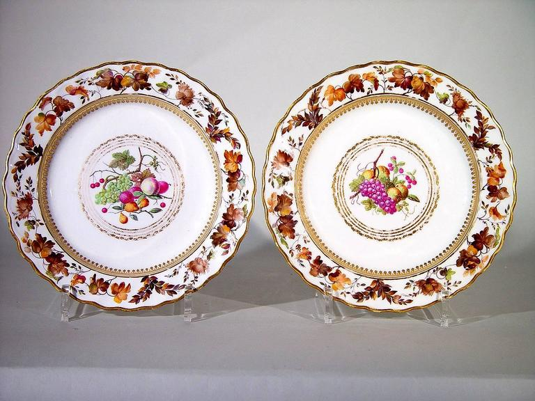 English Derby Porcelain Plates, Pattern 126, Painted by William Longden For Sale