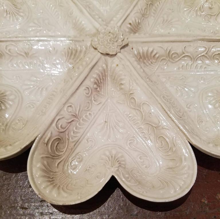 English Large Saltglaze Stoneware Heart Sweetmeat Or