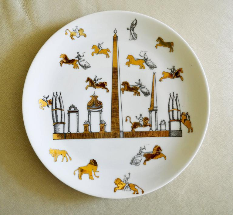 Mid-Century Modern Vintage Piero Fornasetti Set of Nine Porcelain Plates, Anfiteatro, 1960s For Sale