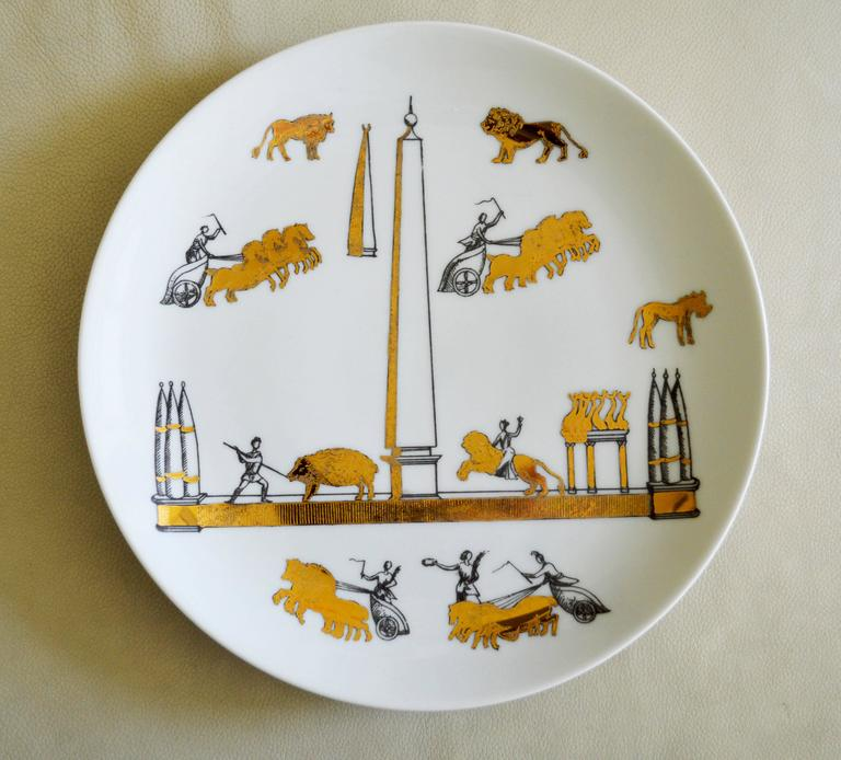 Italian Vintage Piero Fornasetti Set of Nine Porcelain Plates, Anfiteatro, 1960s For Sale