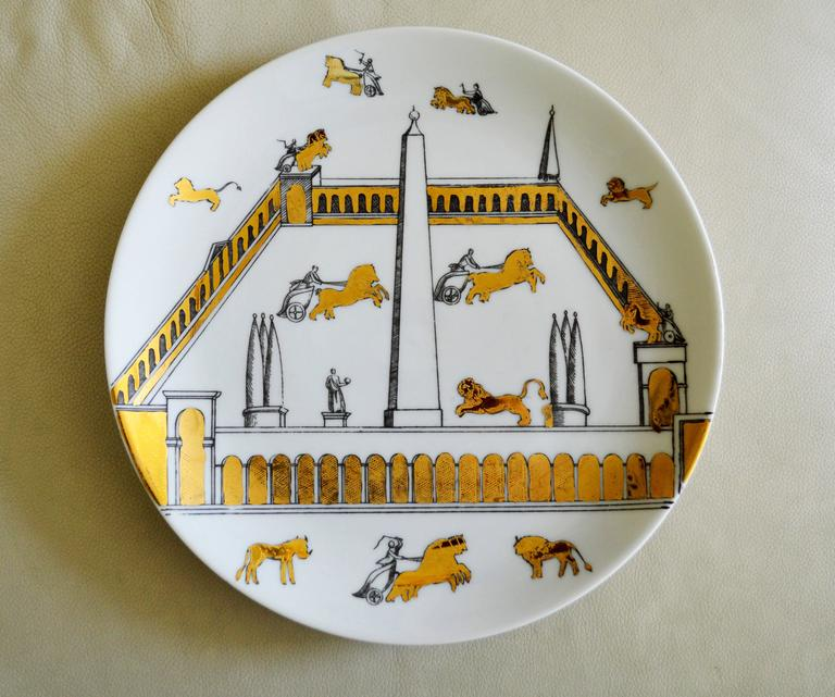 Vintage Piero Fornasetti Set of Nine Porcelain Plates, Anfiteatro, 1960s In Excellent Condition For Sale In Maryknoll, NY
