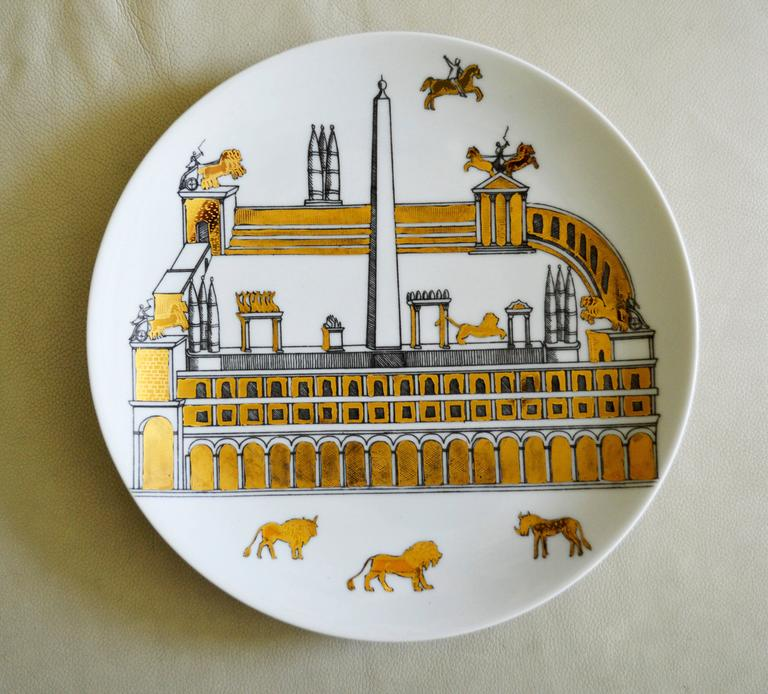 Vintage Piero Fornasetti Set of Nine Porcelain Plates, Anfiteatro, 1960s For Sale 1