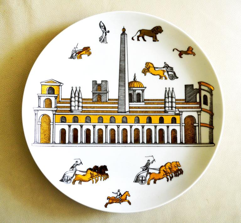 Vintage Piero Fornasetti Set of Nine Porcelain Plates, Anfiteatro, 1960s For Sale 2