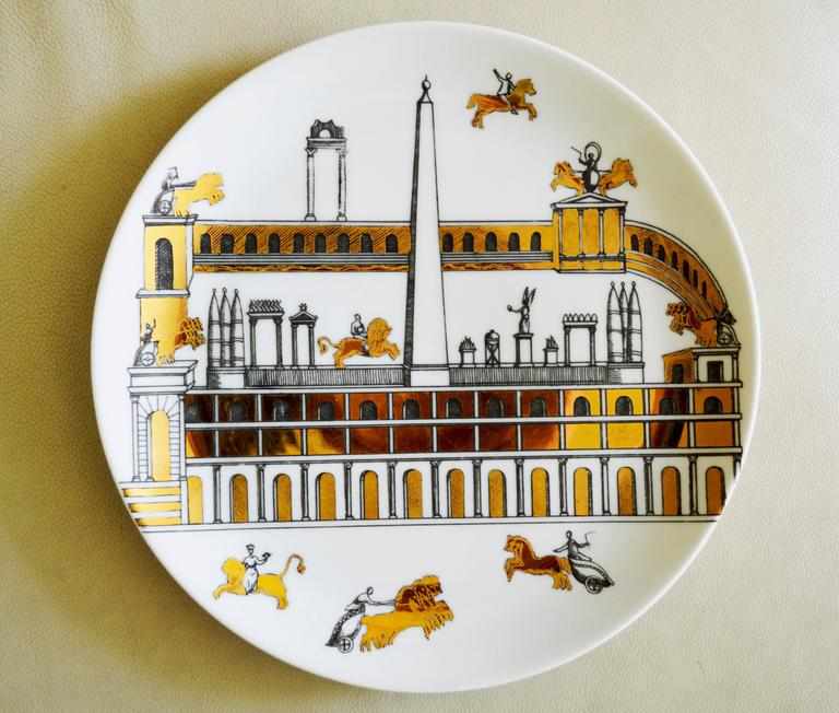 Vintage Piero Fornasetti Set of Nine Porcelain Plates, Anfiteatro, 1960s 9
