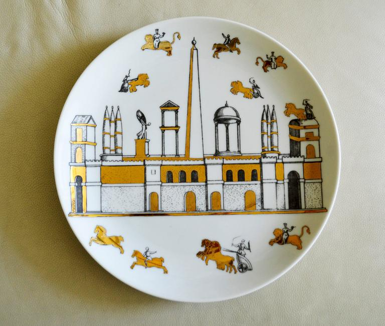 Vintage Piero Fornasetti Set of Nine Porcelain Plates, Anfiteatro, 1960s For Sale 4