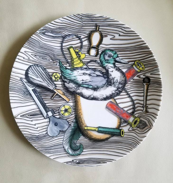 Vintage Piero Fornasetti Porcelain Set of Six Plates with Bird Hunting Objects In Good Condition For Sale In Downingtown, PA