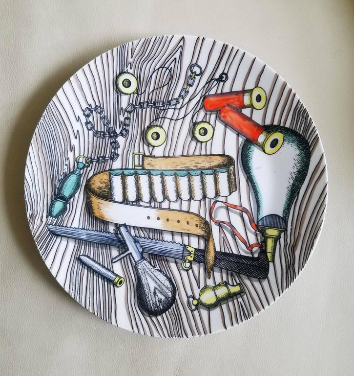 Vintage Piero Fornasetti Porcelain Set of Six Plates with Bird Hunting Objects For Sale 1