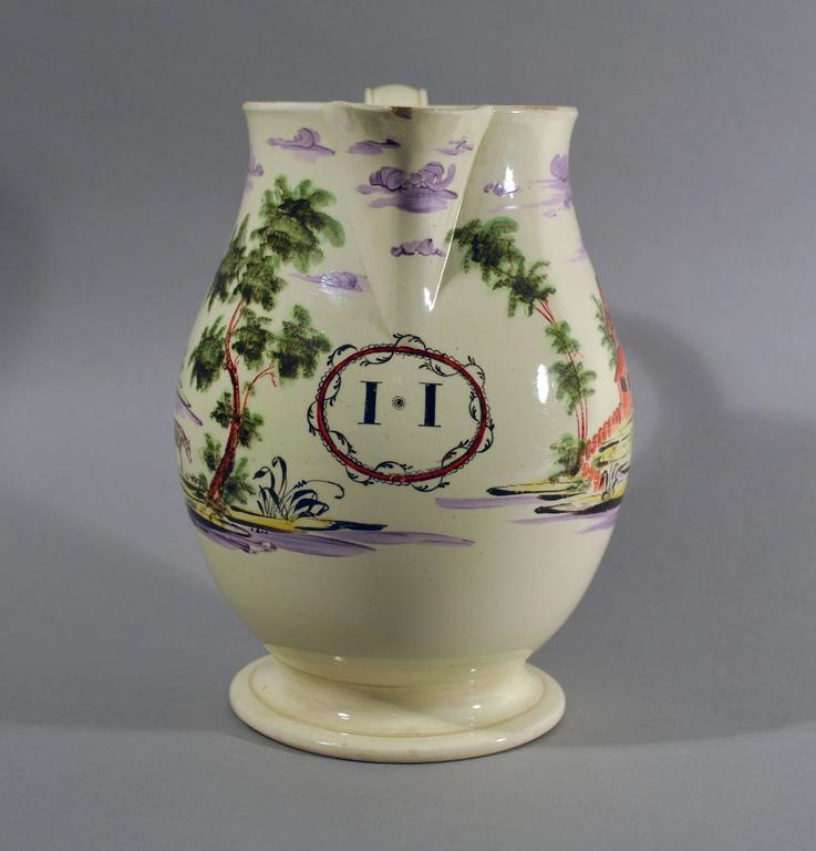 Folk Art Creamware Large Jug Decorated with Farm Buildings and Farm Animals For Sale