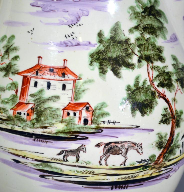 English Creamware Large Jug Decorated with Farm Buildings and Farm Animals For Sale