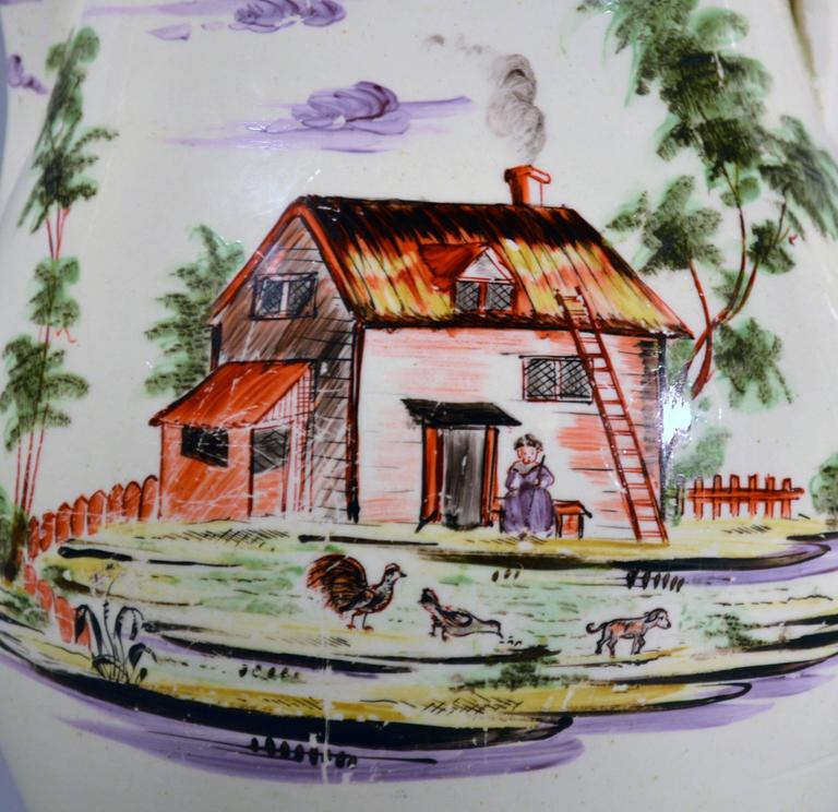 Creamware Large Jug Decorated with Farm Buildings and Farm Animals In Good Condition For Sale In Downingtown, PA