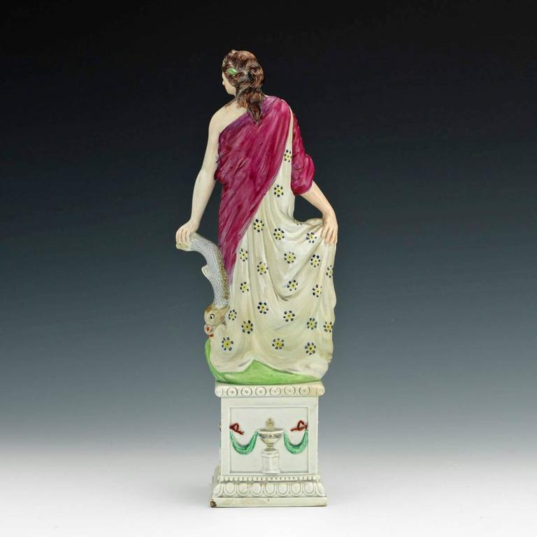 English Pearlware Figure of Aphrodite & Eros, 'Venus and Cupid' Figure For Sale