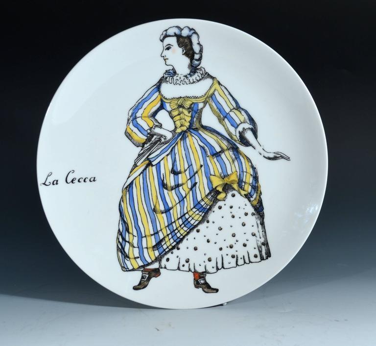 Mid-Century Modern Piero Fornasetti Commedia Dell'arte Maschere Italiane Porcelain Plates For Sale