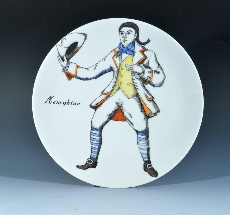 Late 20th Century Piero Fornasetti Commedia Dell'arte Maschere Italiane Porcelain Plates For Sale