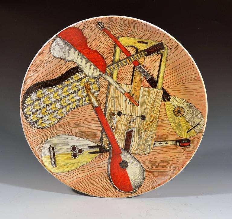 Italian Piero Fornasetti Strumenti Musicali Plates, Set of Six For Sale